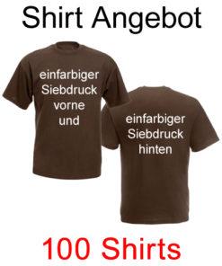 100 T-Shirts vorne und hinten einfarbig bedruckt mit deinem Wunschmotiv