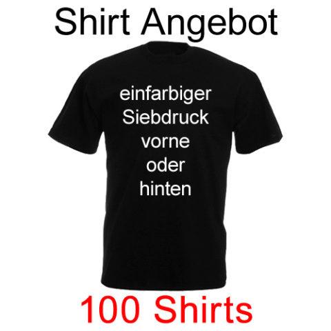 100 T-Shirts mit einfarbigem Siebdruck