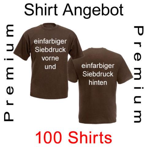 100 premium T-Shirts vorne und hinten einfarbig bedruckt von deiner Datei