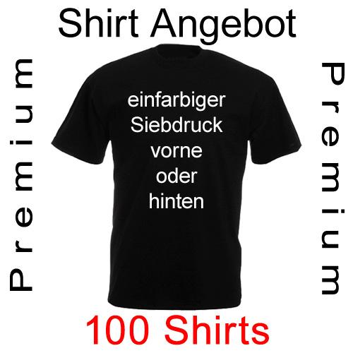 100 premium T-Shirts einfarbig bedruckt