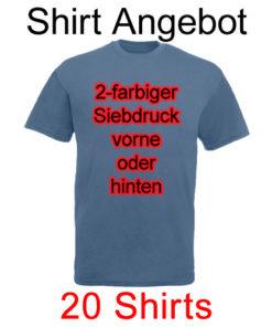 20 T-Shirts mit 2-farbigem Siebdruck