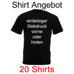 20 Shirts einfarbig bedruckt mit deinem Wunschmotiv