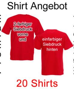 20 premium T-Shirts vorne zweifarbig und hinten einfarbig bedruckt