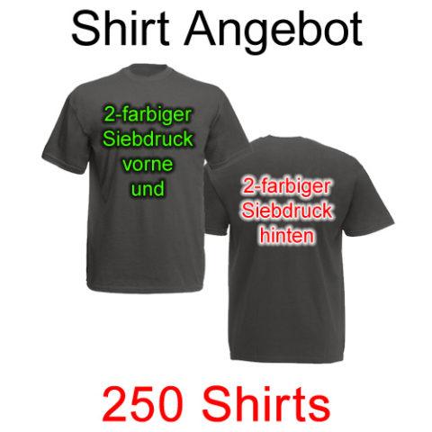 250 T-Shirts vorne und hinten zweifarbig bedruckt