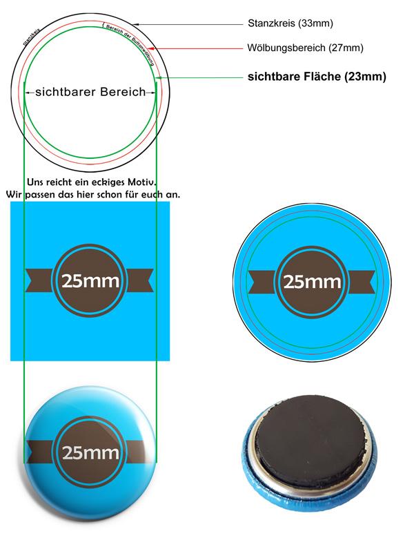 25mm Buttons Kühlschrankmagnet Vorlage
