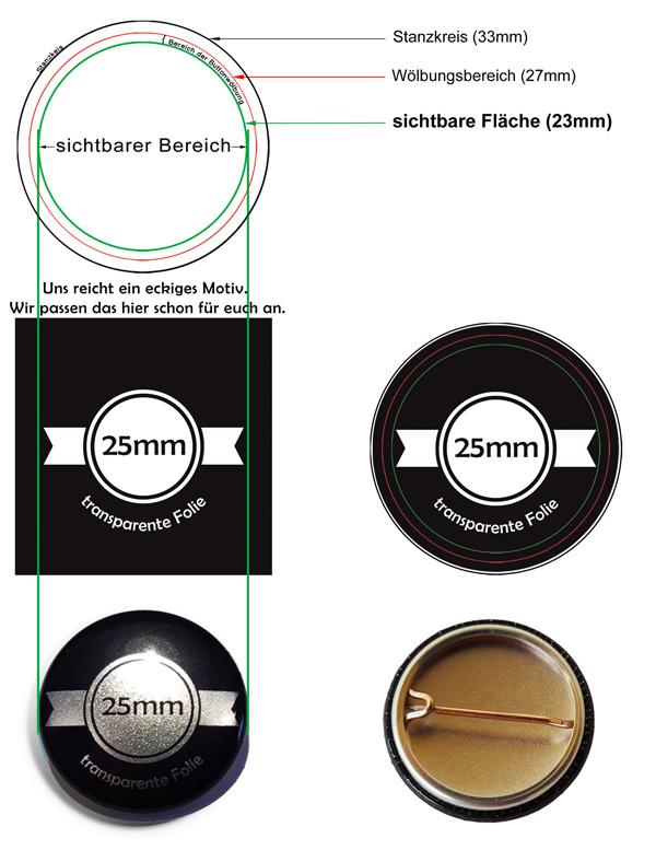 25mm Silber-Buttons Vorlage