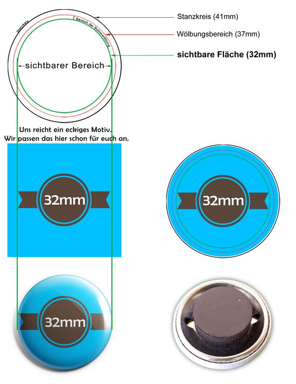 32mm Buttons Kühlschrankmagnet Vorlage
