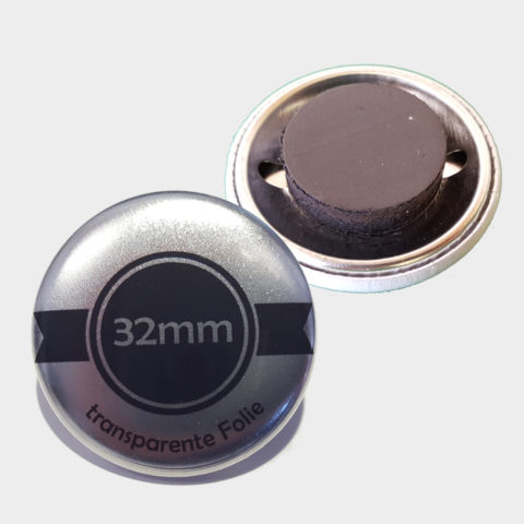 32mm Silber Buttons mit Magnet