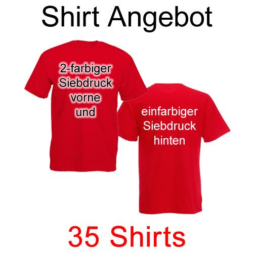 35 T-Shirts mit zweifarbigem Siebdruck vorne und einfarbigem Siebdruck hinten