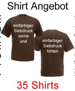 35 Premium T-Shirts vorne und hinten einfarbig bedruckt
