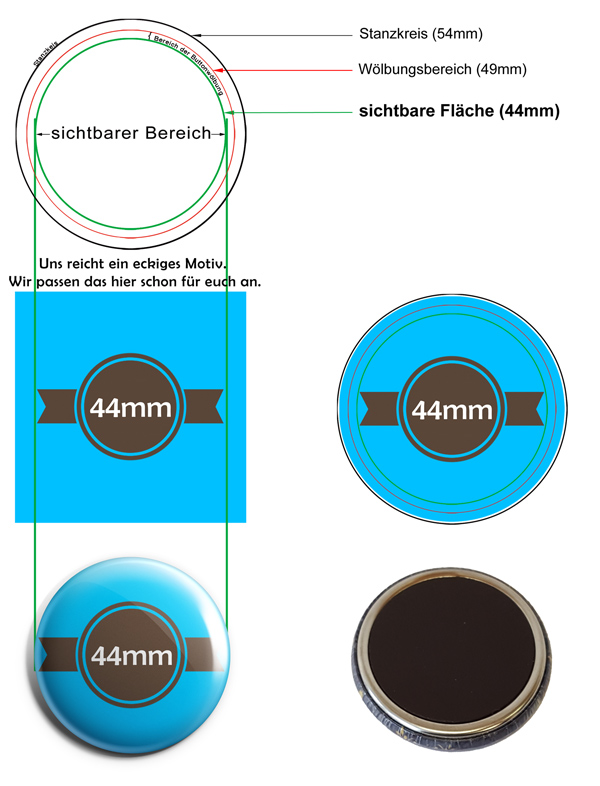 44mm Buttons Kühlschrankmagnet Vorlage