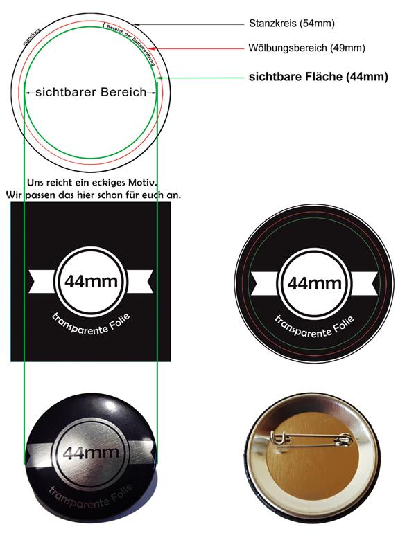 44mm Silber-Buttons Vorlage