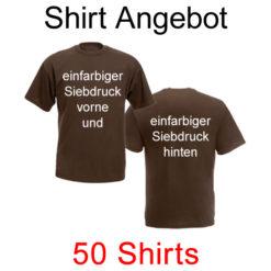 50 T-Shirts vorne und hinten einfarbig bedruckt