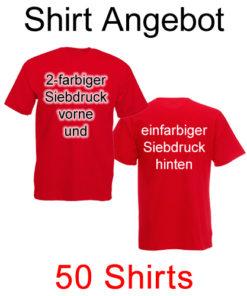50 T-Shirts vorne 2-farbig und hinten einfarbig bedruckt