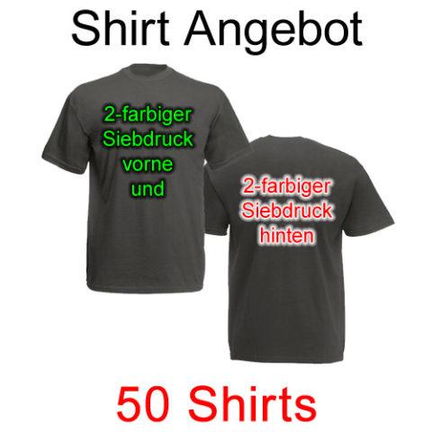 50 T-Shirts vorne und hinten zweifarbig bedruckt