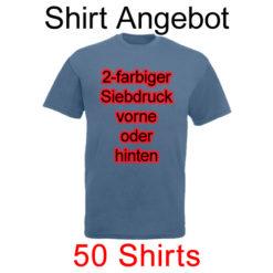 50 Shirts mit 2-farbigem Siebdruck