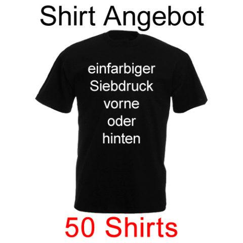 50 Shirts einfarbig bedruckt mit deinem Motiv