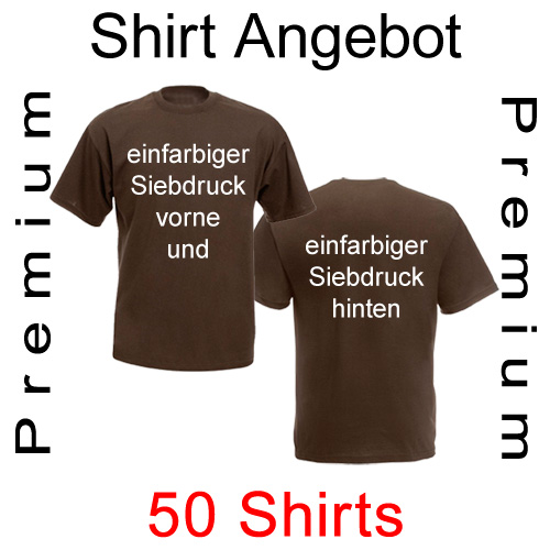 50 Shirts mit einfarbigem Siebdruck vorne und hinten