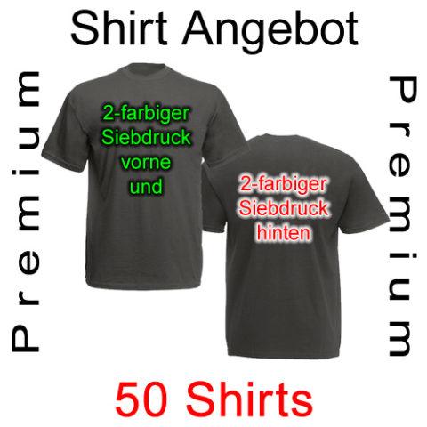 50 Premium T-Shirts vorne und hinten zweifarbig bedruckt