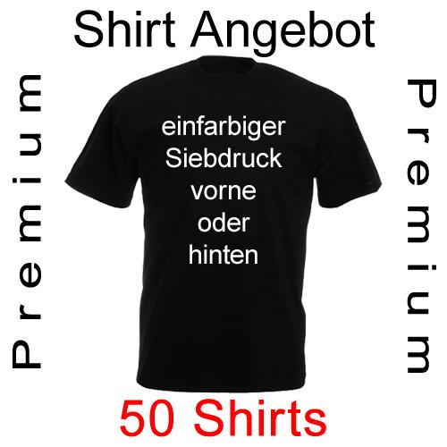 50 Premium Shirts einfarbig bedruckt mit deinem Motiv