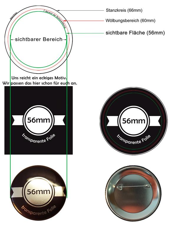 56mm silber Buttons bestellen