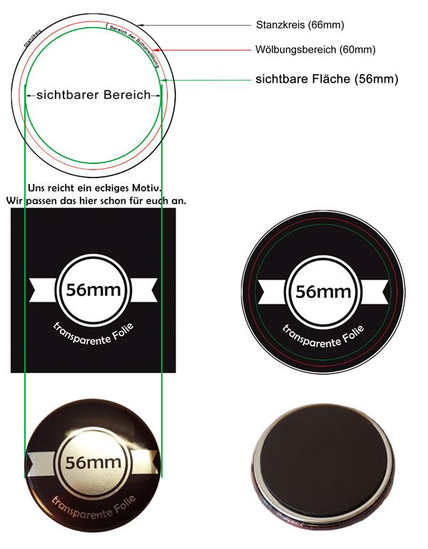 56mm Silber-Buttons als Kühlschrankmagnet