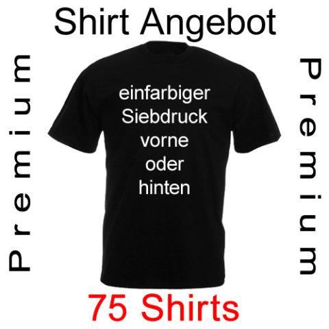 75 T-Shirts mit einfarbigem Siebdruck