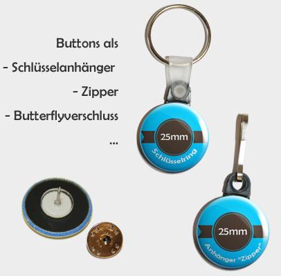 Schlüsselanhänger, Zipper, Butterflyverschluss