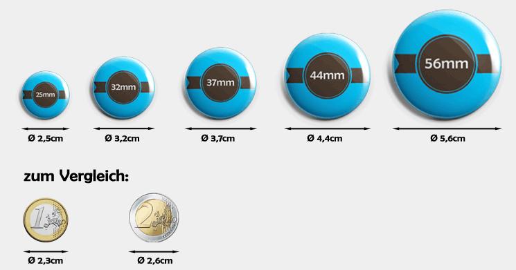 Buttons im Größenvergleich
