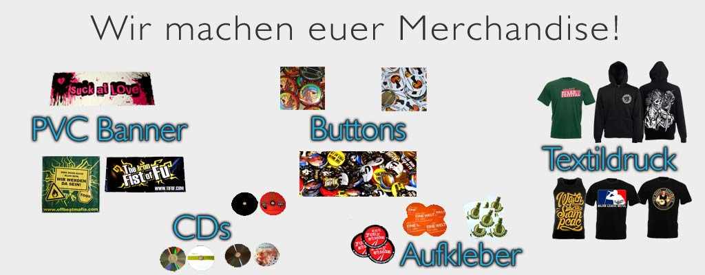 Buttons bestellen, Aufkleber drucken, Textilien, Banner, CDs