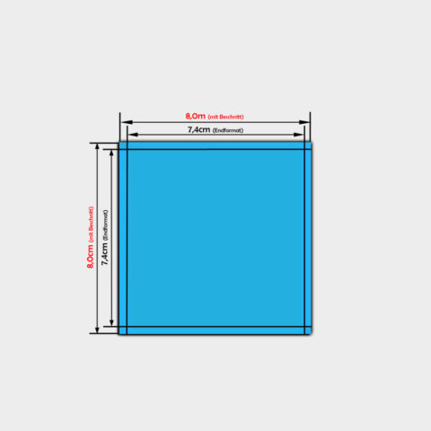 quadratische PVC-folien-Aufkleber in der Größe 7,4x7,4cm bestellen