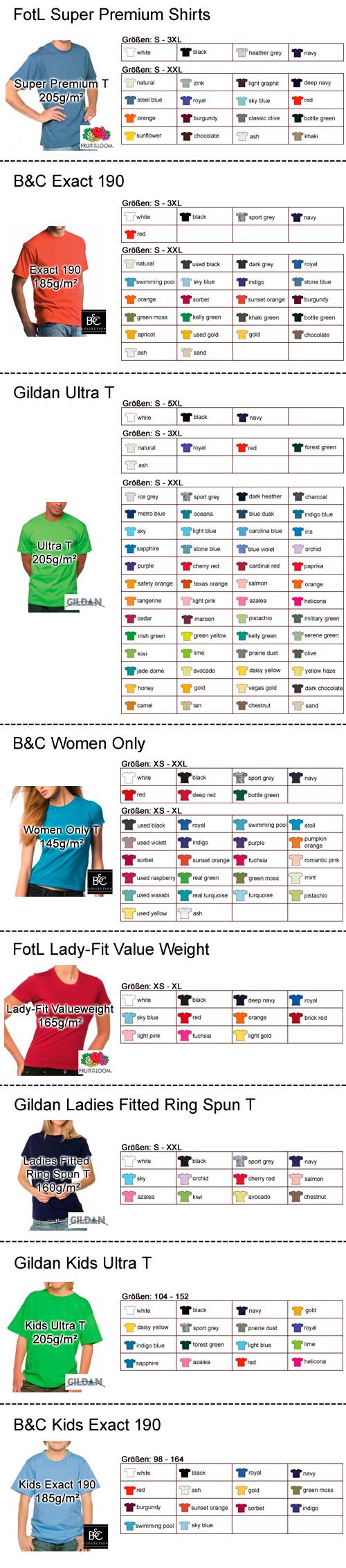 Shirtauswahl Premium Shirts